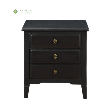 Black Solid Wood Rectangular Night Stand With Drawers