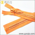 NO.10 rhinestone material diamond plastic teeth zipper