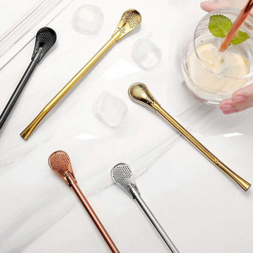 18/8 Colorful Stainless Steel Straw Spoon