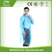 Blue Disposable PE Raincoat for Adult