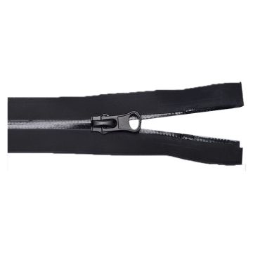 Elegant black separating zipper for garment