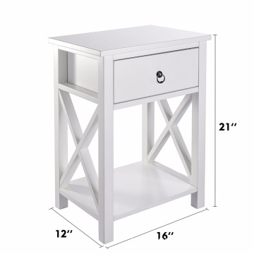 10 Years manufacturer for Bedside Cabinets X-Design Side End bedside Table Night Stand Storage Shelf with Bin Drawer supply to Nauru Wholesale