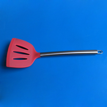 Silicone Slotted Kitchen Turner with stainless steel handle