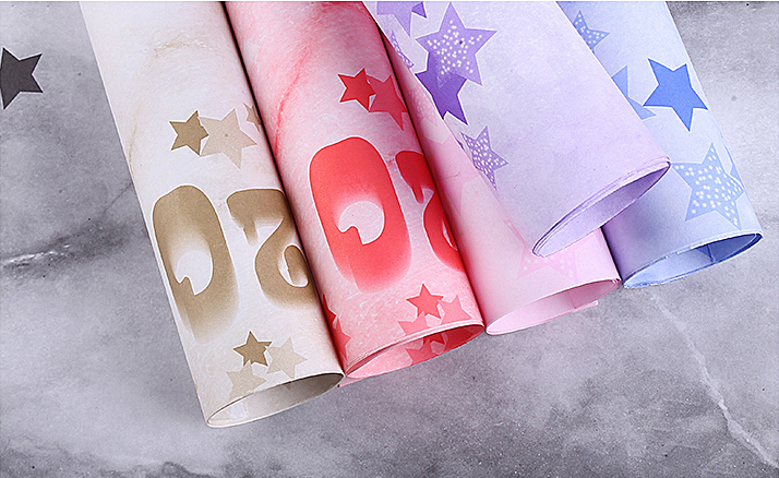 Star pattern purple flower wrapping paper