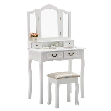 Cushioned Stool Makeup Organizer 4 drawers Trifold Mirror Makeup Vanity Table Set