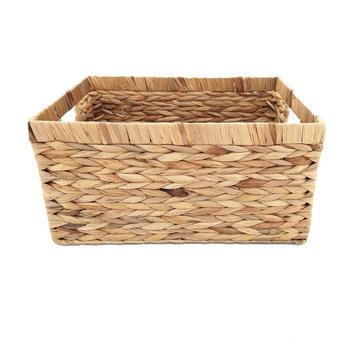 Natural Water Hyacinth Storage Bins Rectangular Basket