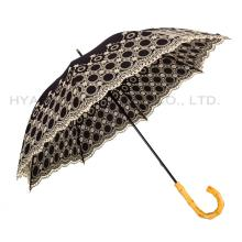 Embroidered Wedding Parasol Women's Straight Umbrella