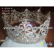 Full Round Rhinestone Beauty Queen Crowns For Sale