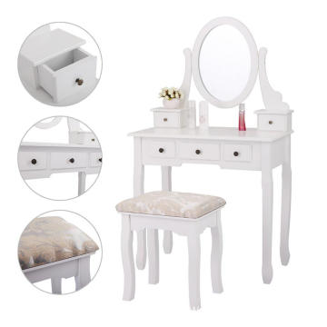 White Finish 5 Drawers Vanity Table Cushioned Stool Makeup Dressing Table Organizer Bedroom