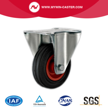 Plate Rigid Black Rubber Roller Bearing Industrial Caster