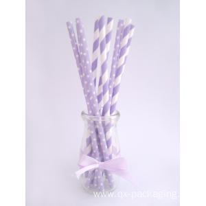 Purple and white paper straws for sales