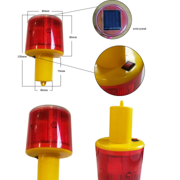 Solar LED warning road traffic light