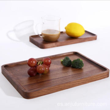 Rectangular Walnut Wood Coffee Serving Tray Food Wooden Trays