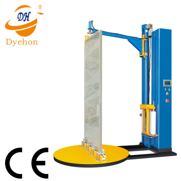 Top plate pre-stretch pallet door stretch wrapping machine