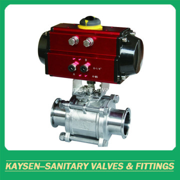 Sanitary pneumatic three pieces ball valves clamped end