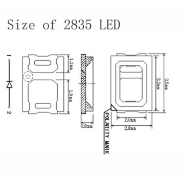 0.1W 2835 SMD LED Red Chips