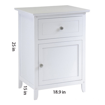 Wood Night Stand/ Accent Table with Drawer and cabinet for storage, White