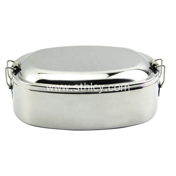 Oval Stainless Steel Lunch Box na may Lock