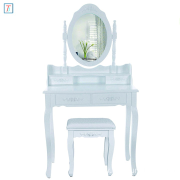 Dressing Table Set White 145 x 75 x 40 cm with mirror and stool 4 drawers with 2 divider