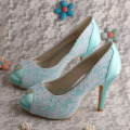 Mint Green Wedding Lace Shoes Heels Open Toe