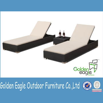 Aluminium Rattan Outdoor Furniture Double Recliner Set