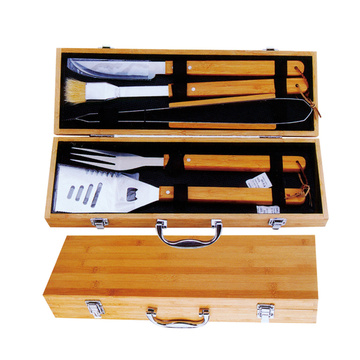 5pcs bbq tools set in bamboo case