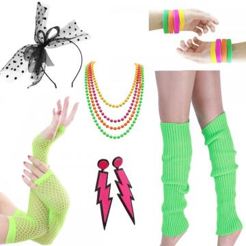 Leg Warmers Fishnet Gloves Neon Earrings Bracelet