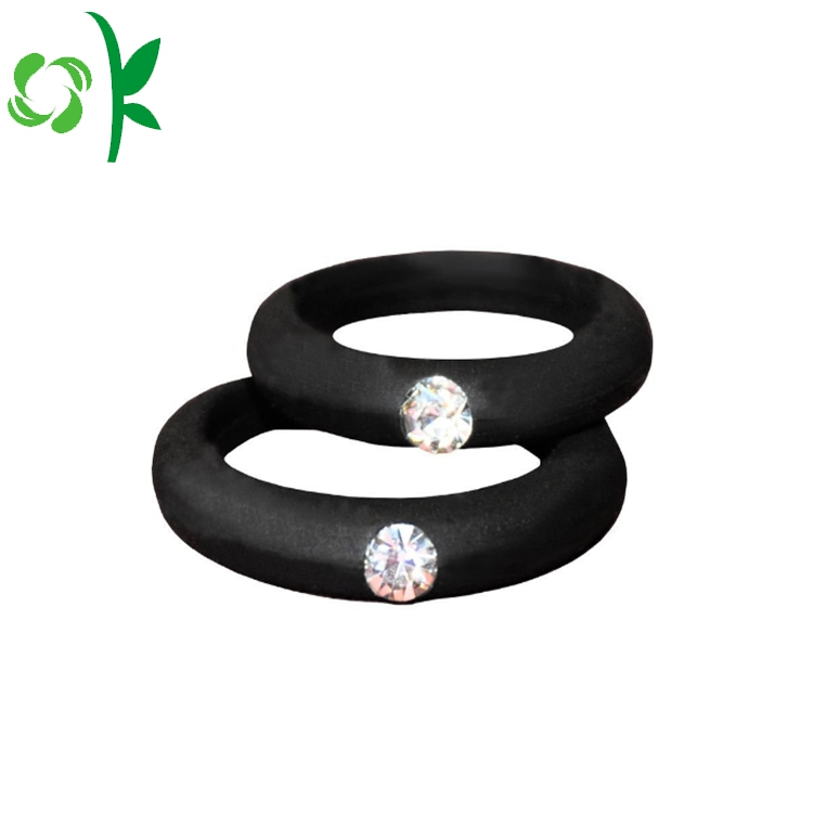 Blsck Silicone Ring With Daimond 1