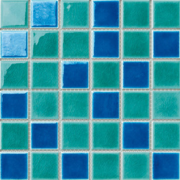green and blue porcelain pool mosaic