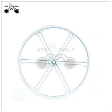 Widely used white 6 spoke bicycle wheel