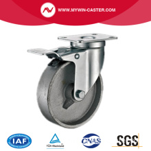 Braked Plate Swivel Cast Iron Industrial Castor Wheels