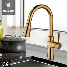 Luxurious Gold Plated Pulldown Sprayer Kitchen Sink Faucet