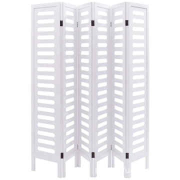 Wooden Privacy Screen Double Sided Freestanding White 6 Panel Folding Room Divider