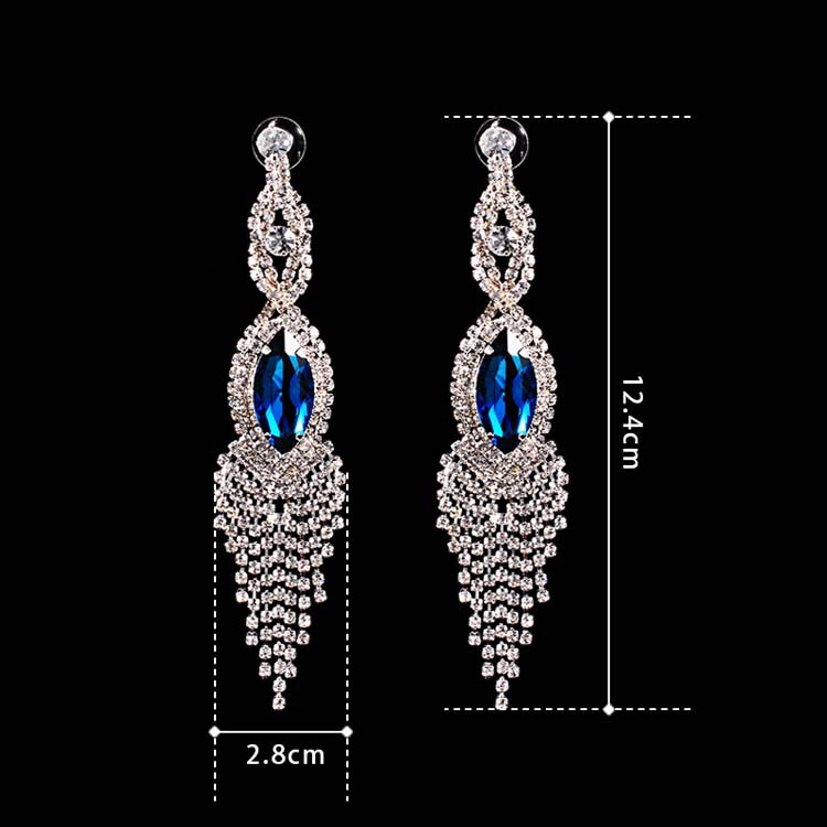 Blue Rhinestone Long Fashion Drop Earrings