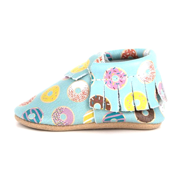 Latest Fashion Printed Baby Leather Moccasins Unisex Shoes