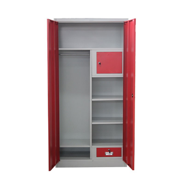 Red Drawer Metal Wardrobe