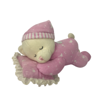 Plush Bear Sleeping On Pillows Pink