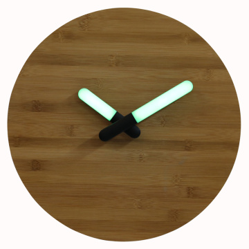 Bamboo Wall Clock With LED Light