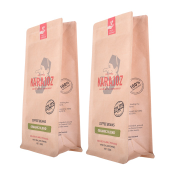 Biodegradable Flat Bottom Paper Coffee Packaging Bag