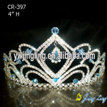 Aqua rhinestone wholesale hair pageant crowns cheap