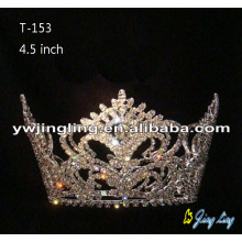 Gold Plated Rhinestone Full Round Pageant Crowns