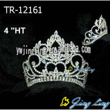4 Inch Crystal Silve Plated Pageant Crowns