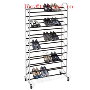 Chrome 10-Tier Rolling Metal Shoe Rack Chrome 10-Tier Rolling Shoe Rack
