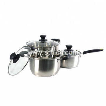 Single at Double na humahawak ng Stainless Steel Cooker Set