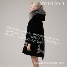 Fur Coat With Mink Flower In Winter Lady