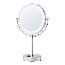 Two-sided battery magnifying mirror with lights