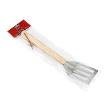Stainless steel slotted turner with wooden handle