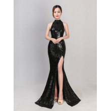 Forked long halter sequins fishtail Slim evening dress nightclub sexy banquet presided over the car model dinner
