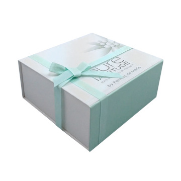 Custom cardboard mint green gift box with ribbon
