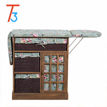 housewares ironing board wood cabinet with storage basket